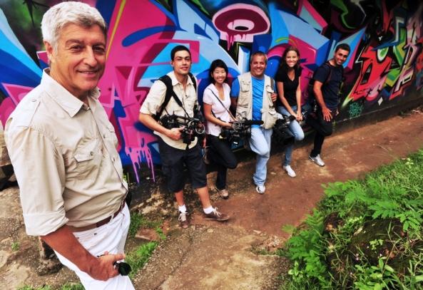 Caco Barcellos no Complexo do Alemão (Foto: TV Globo/João Miguel Júnior)